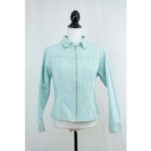 CAbi Women's Collared Zip Up Jean Jacket